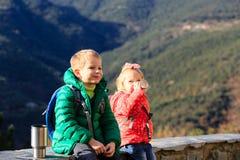 Petit garçon et fille trimardant en montagnes Photos libres de droits
