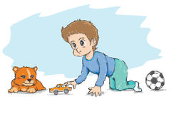 Petit garçon et petit chien. Voiture de jouet de jeu Image libre de droits