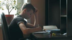 Petit garçon faisant le travail Il s'assied à son bureau, apprenant à écrire des lettres L'écolier encercle les lettres préécrite clips vidéos