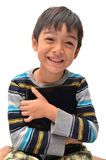 Petit garçon heureux avec le comprimé Images libres de droits