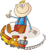 Petit garçon heureux avec le positionnement de train illustration stock