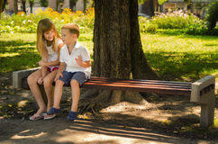 Petit garçon heureux et petite fille parlant en parc Images stock