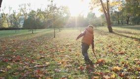 Petit garçon heureux jouant avec des feuilles d'automne jetant des feuilles dans le mouvement lent banque de vidéos
