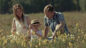 Petit garçon heureux s'asseyant avec ses parents dans le pré vert banque de vidéos