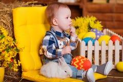 Petit garçon jouant avec le lapin blanc d'intérieur Amusement de Pâques de ressort pour des enfants concept d'enfance heureux Image libre de droits