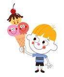 Petit garçon mangeant le cornet de crème glacée illustration libre de droits