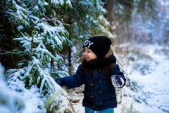 Petit garçon marchant dans la forêt d'hiver photographie stock
