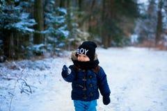 Petit garçon marchant dans la forêt d'hiver image stock
