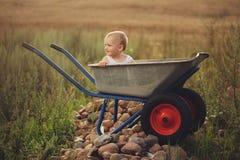 Petit garçon mignon avec la brouette photographie stock libre de droits