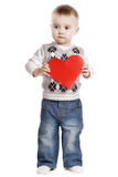 Petit garçon mignon avec le rouge entendu Photo libre de droits