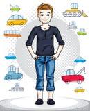 Petit garçon mignon de l'adolescence se tenant dans des vêtements sport élégants illustration libre de droits