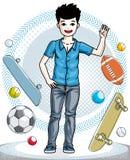 Petit garçon mignon de l'adolescence se tenant dans des vêtements sport élégants Vecteur illustration libre de droits