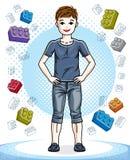 Petit garçon mignon de l'adolescence se tenant dans des vêtements sport élégants Vecteur illustration stock