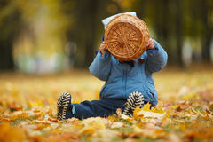 Petit garçon mignon en parc d'automne Photos libres de droits