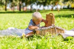 Petit garçon mignon essayant de trouver des bonbons dans le panier image libre de droits