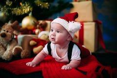 Petit garçon mignon et son père s'asseyant à l'arbre de Noël Images stock