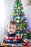 Petit garçon préscolaire adorable, jouant avec des voitures de jouet à la maison dessus Photos libres de droits