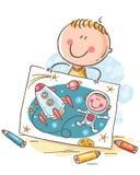 Petit garçon s'imaginant un astronaute avec une fusée dans l'espace, bande dessinée illustration stock