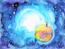 Petit garçon sur le monde dans la peinture d'aquarelle d'illustration d'univers illustration de vecteur