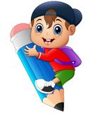 Petit garçon tenant le grand crayon illustration stock