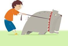 Petit garçon tenant son grand chien illustration de vecteur