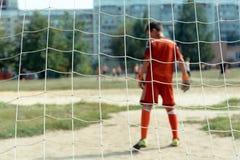 Petit gardien de but du football Photographie stock