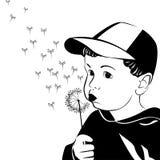 Petit garçon de vecteur soufflant sur un pissenlit Photographie stock