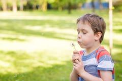 Petit garçon doux soufflant un pissenlit Photo libre de droits