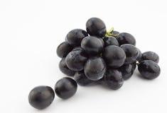Petit groupe de raisins noirs d'isolement sur le fond blanc Photos stock