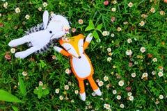 petit hérisson et renard mignons dormant dans le jardin Photos libres de droits