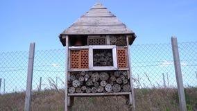 Petit hôtel d'insecte avec un bon nombre de nids pour les insectes salutaires, 4k banque de vidéos