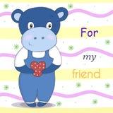 Petit hippopotame mignon dans le style de bande dessinée Illustration comique témoin Image stock