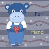 Petit hippopotame mignon dans le style de bande dessinée Illustration comique témoin Photo stock