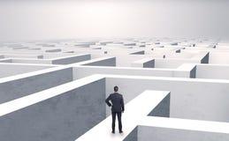 Petit homme d'affaires à un milieu d'un labyrinthe Photo stock
