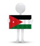 petit homme 3d tenant un drapeau du royaume hachémite de Jordanie Image libre de droits