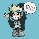 Petit homme heureux disant le bonjour ! Image libre de droits