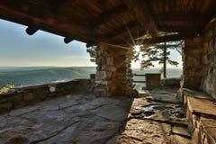 Petit Jean Mountain Arkansas USA. CCC overlook near sunset sunburst lens flare Stock Image