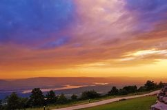 Petit Jean River Valley and Blue Mountain Lake Stock Image