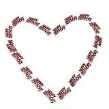 Petit lettrage avec le joyeux anniversaire dans la forme de coeur Image stock