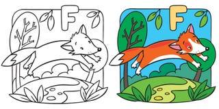 Petit livre de coloriage de renard rouge Alphabet F Image stock