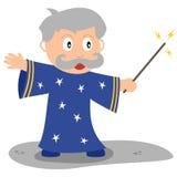 Petit magicien avec la baguette magique magique Photographie stock