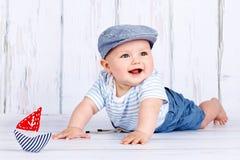 Petit marin heureux de bébé Image libre de droits