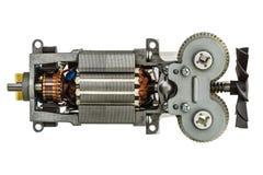 Petit moteur électrique avec la fan, d'isolement sur le fond blanc Images libres de droits