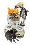 Petit moteur électrique avec la fan, d'isolement sur le fond blanc Photos libres de droits