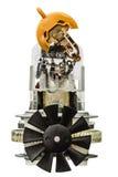 Petit moteur électrique avec la fan, d'isolement sur le fond blanc Photographie stock