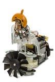 Petit moteur électrique avec la fan, d'isolement sur le fond blanc Photo stock