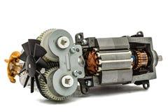 Petit moteur électrique avec la fan, d'isolement sur le fond blanc Image stock