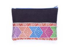 Petit noir multicolore tissé de tissu par sac Image libre de droits