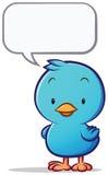 Petit oiseau bleu avec l'entretien de bulle illustration libre de droits
