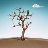 Petit oiseau bleu dans l'arbre. illustration 3d Image libre de droits